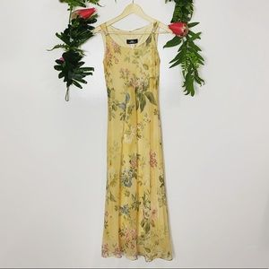 Vintage 1990s beautiful yellow floral long dress